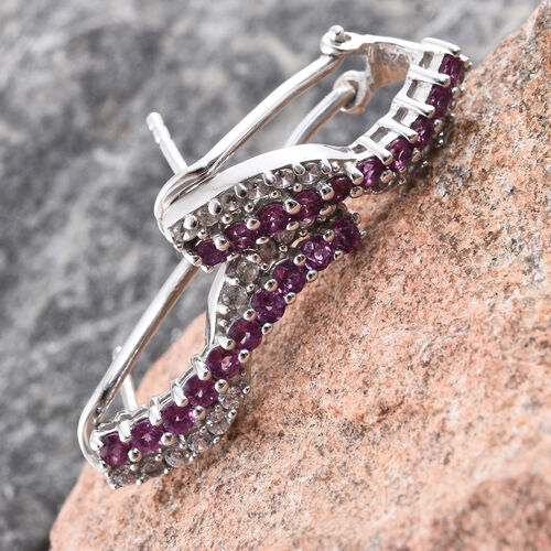 Purple Garnet, Natural Cambodian Zircon 1.50 Ct Silver Earrings (with French Clip) in Platinum Overlay