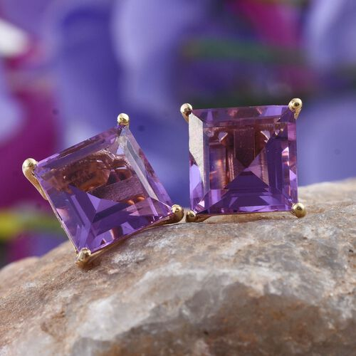 Lavender Alexite (Sqr) Stud Earrings (with Push Back) in 14K Gold Overlay Sterling Silver 8.750 Ct.