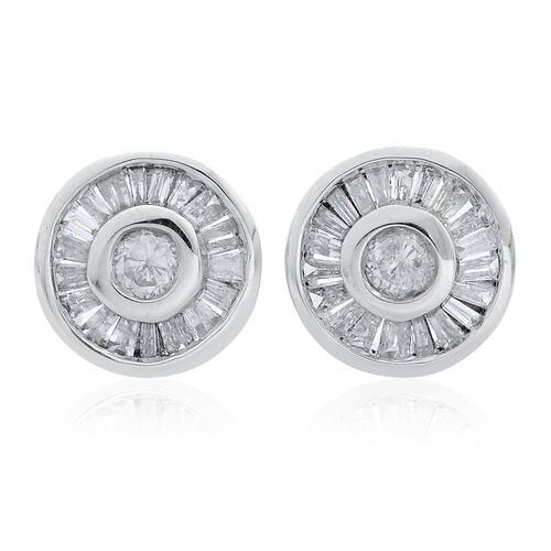 9K White Gold SGL Certified Diamond (Rnd) (I3 G-H) Stud Earrings (with Push Back) 0.450 Ct.
