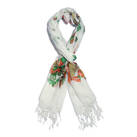 Orange, White and Multi Colour Butterfly Printed Scarf with Tassels (Size 180X70 Cm)