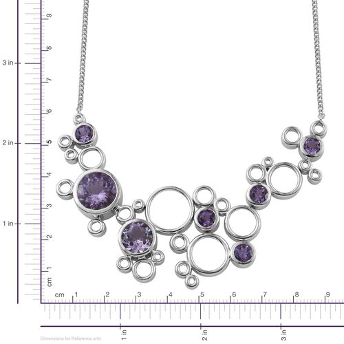 Kimberley Rose De France Amethyst (Rnd 10.50 Ct) Necklace (Size 18) in Platinum Overlay Sterling Silver 22.250 Ct.