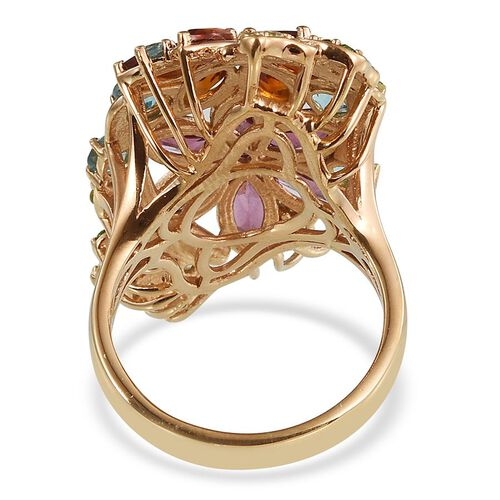 Stefy Rhodolite Garnet (Mrq), Citrine, Paraibe Apatite, Pink Sapphire, Hebei Peridot and Russian Diopside Floral Ring in 14K Gold Overlay Sterling Silver 6.750 Ct.