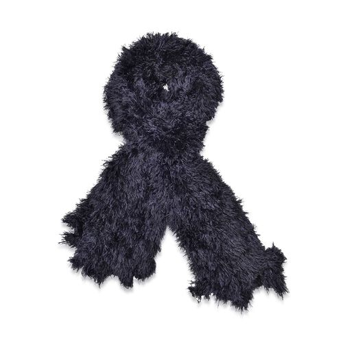 Black Colour Woven Scarf (Size 140x10 Cm)