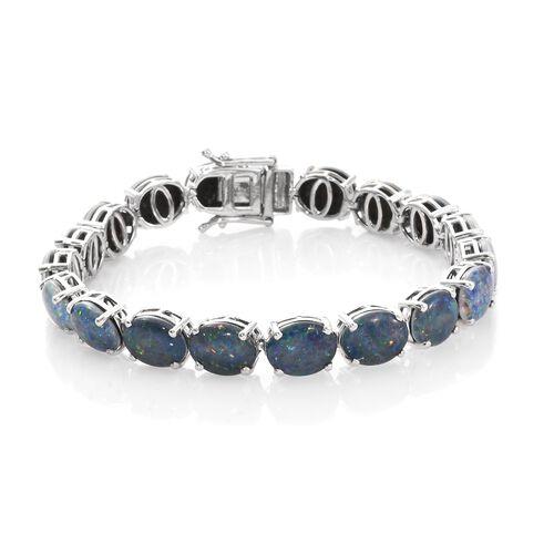 Australian Boulder Opal (Ovl) Bracelet (Size 7.5) in Platinum Overlay Sterling Silver 29.750 Ct. Silver wt 11.85 Gms.
