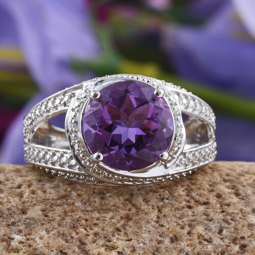 Lavender Alexite (Rnd 4.25 Ct), Diamond Ring in Platinum Overlay Sterling Silver 4.270 Ct.