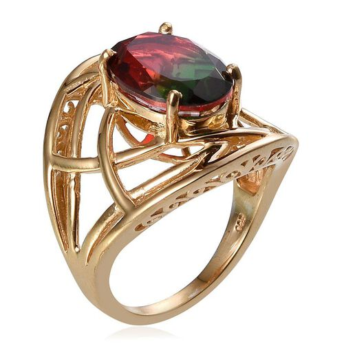 Tourmaline Colour Quartz (Ovl) Solitaire Ring in 14K Gold Overlay Sterling Silver 5.750 Ct.
