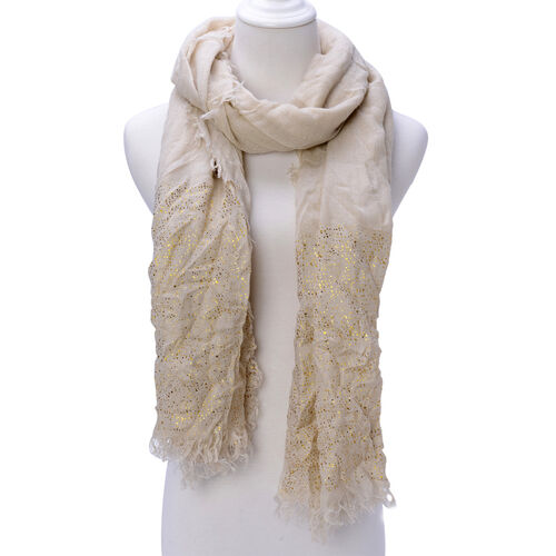 Beige Colour Scarf with Golden Design at Bottom (Size 200x95 Cm)