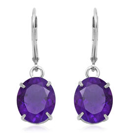 AAA Rare Size Lusaka Amethyst (Ovl) Lever Back Earrings in Rhodium Plated Sterling Silver 8.000 Ct.
