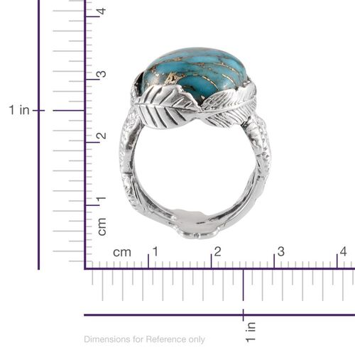 Jewels of India Blue Copper Turquoise (Ovl) Solitaire Ring in Sterling Silver 16.760  Ct.