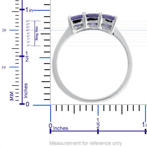 9K W Gold Tanzanite (Oct) Trilogy Ring 1.750 Ct.