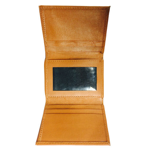 Genuine Leather RFID Blocker Tan Colour Tri-Fold Men Wallet with Card Holder (Size 10x9 Cm)