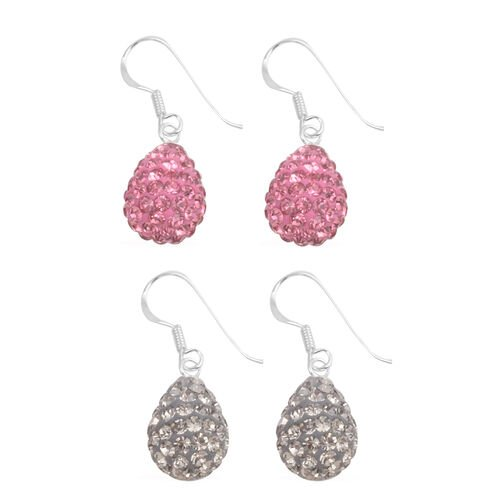 Close Out Deal Set of 2 - Pink Austrian Crystal (Rnd), Grey Austrian Crystal Hook Earrings in Sterling Silver