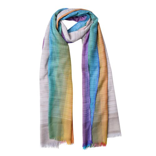 Designer Inspired - Light Brown, Blue and Multi Colour Stripes Pattern Scarf with Fringes (Size 180X90 Cm)