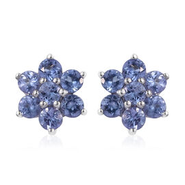 Tanzanite (Rnd) Floral Stud Earrings (with Push Back) in Platinum Overlay Sterling Silver 1.000 Ct.