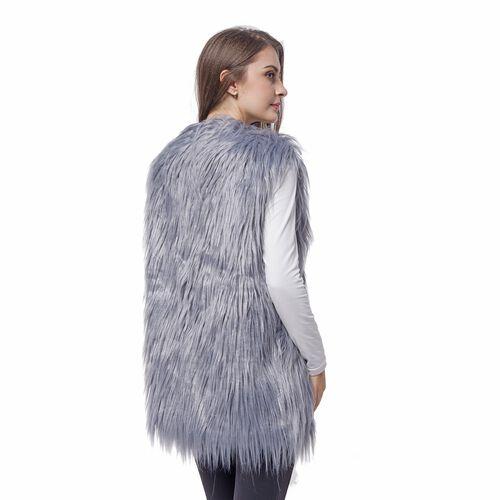Designer Inspired Super Soft Grey Colour Faux Fur Gilet (Size 65X50 Cm)
