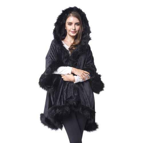Designer Inspired - Black Faux Fur Hoodie Jacket (One Size For All)