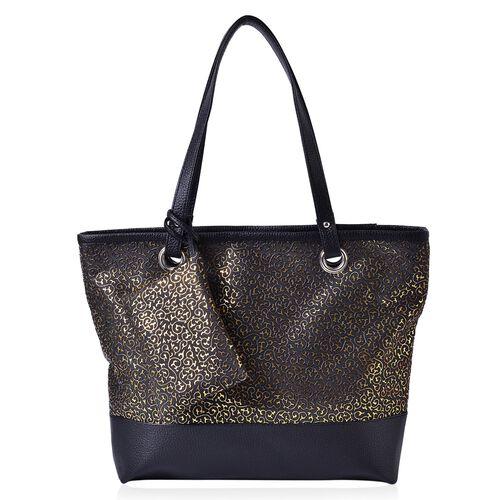 Set of 2 - Golden Colour Leaves Pattern Black Colour Large Handbag (Size 42x33x30x11.5 Cm) and Small Pouch (Size 15x12 Cm)