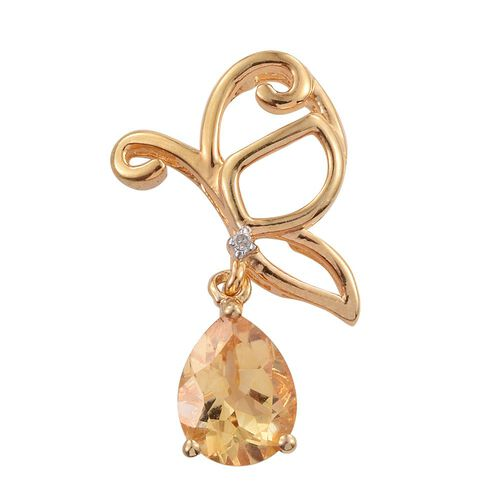 Citrine (Pear), Diamond Butterfly Pendant in 14K Gold Overlay Sterling Silver 1.500 Ct.