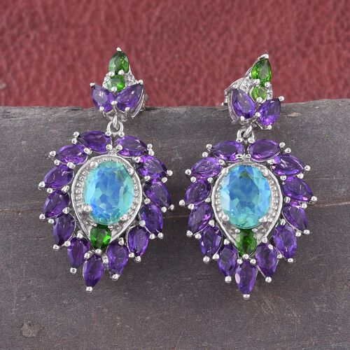 GP Peacock Quartz (Ovl), Amethyst, Russian Diopside, Natural Cambodian Zircon and Kanchanaburi Blue Sapphire Earrings (with Push Back) in Platinum Overlay Sterling Silver 11.500 Ct.