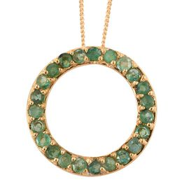Kagem Zambian Emerald (Rnd) Circle of Life Pendant with Chain in 14K Gold Overlay Sterling Silver 0.750 Ct.