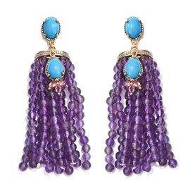 GP Arizona Sleeping Beauty Turquoise (Pear), Amethyst, Rhodolite Garnet and Kanchanaburi Blue Sapphire Earrings (with Push Back) in 14K Gold Overlay Sterling Silver 134.000 Ct.