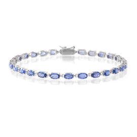 9K White Gold 9.25 Ct AA Ceylon Blue Sapphire Tennis Bracelet (Size 7.5)