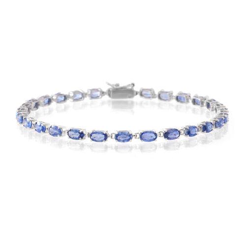 9K White Gold AA Ceylon Blue Sapphire (Ovl) Tennis Bracelet (Size 7.5) 9.250 Ct.