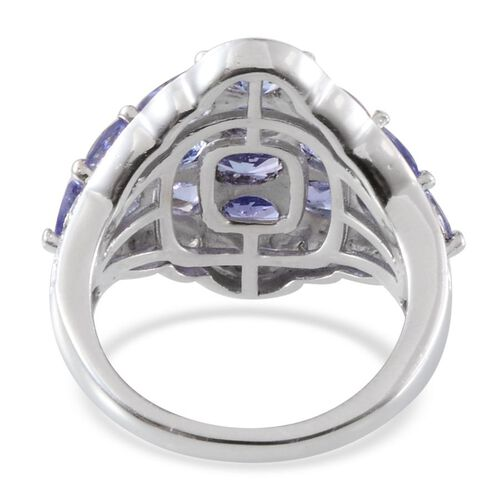 Tanzanite (Ovl), Diamond Cluster Ring in Platinum Overlay Sterling Silver 3.270 Ct.