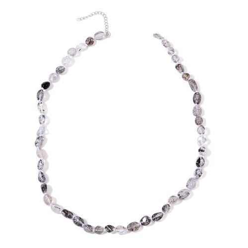 Rare Black Rutile Quartz Necklace (Size 18 with 2 inch Extender) in Rhodium Plated Sterling Silver 97.500 Ct.