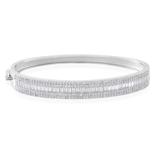 Designer Inspired ELANZA AAA Simulated White Diamond (Bgt) Bangle (Size 7) in Rhodium Plated Sterling Silver.Silver Wt 16.00 Gms. No of Stones 265 Pcs.