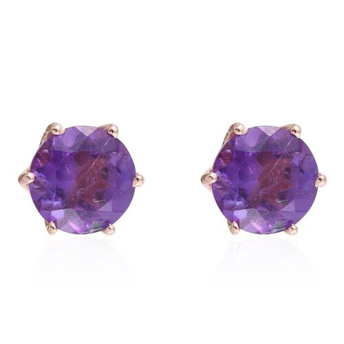 Amethyst 2.25 Ct Solitaire Stud Earrings  in Rose Gold Overlay