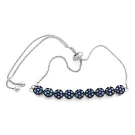Blue Diamond (Rnd) Adjustable Bracelet (Size 6.5 to 9.5) in Platinum Overlay Sterling Silver 0.500 Ct.
