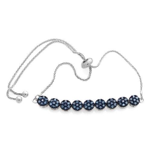 Blue Diamond (Rnd) Adjustable Bracelet (Size 6.5 to 9.5) in Platinum Overlay Sterling Silver 0.500 Ct.