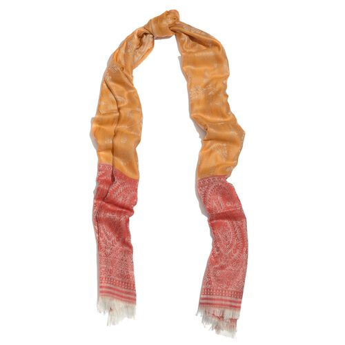 100% Superfine Modal Floral Pattern Orange, Red and White Colour Jacquard Scarf (Size 180x70 Cm)