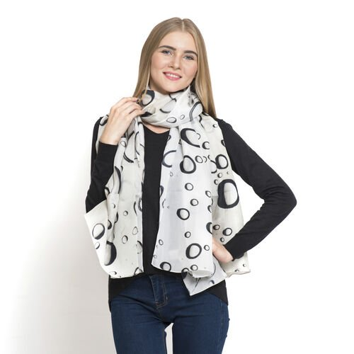LucyQ 100% Mulberry Silk Digital Print Black and White Colour Bubble Pattern Scarf (Size 180x100 Cm) - 40 Grms