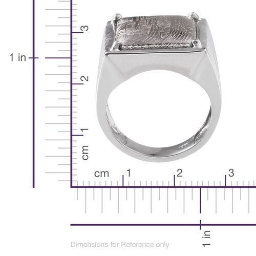 Meteorite (Sqr) Ring in Platinum Overlay Sterling Silver 20.750 Ct.