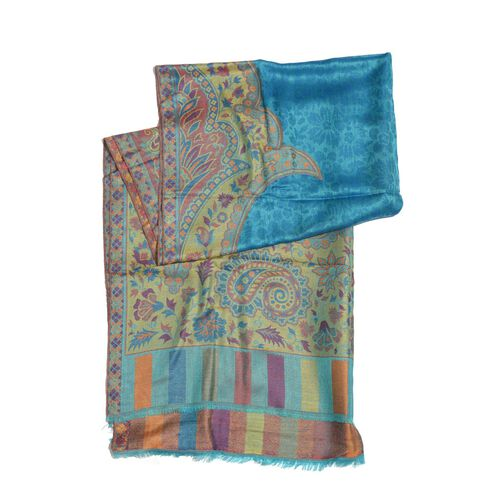 100% Modal Red, Green, Blue and Multi Colour Floral and Paisley Pattern Jacquard Scarf (Size 190x70 Cm)