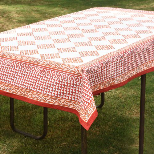100% Cotton Orange and White Colour Hand Block Printed Table Cover (Size 235x150 Cm)