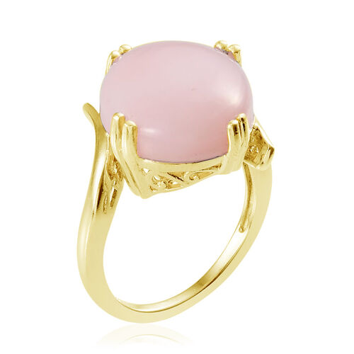 Peruvian Pink Opal (Ovl) Ring in 14K Gold Overlay Sterling Silver 15.000 Ct.