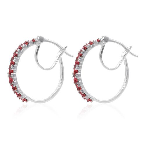 J Francis Crystal from Swaroski - Indian Pink Crystal (Rnd) Hoop Earrings (with Clasp) in Sterling Silver