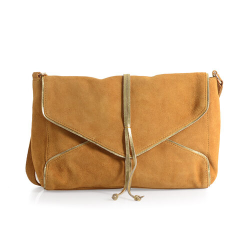 Genuine Leather Tan Colour Crossbody Bag with Golden Trims and Shoulder Strap (Size 28x21.5x7.5 Cm)