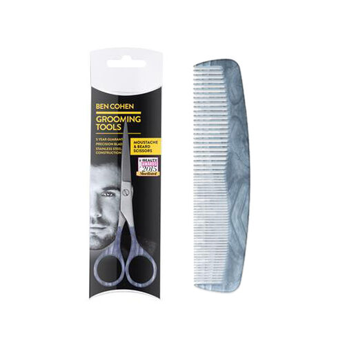 Ben Cohen Grooming Kit 2 Moustache and Beard Scissors with Moustache and Beard Comb