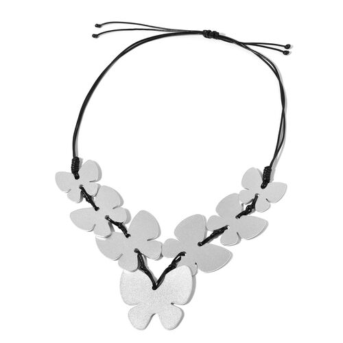 Butterfly Adjustable Necklace (Size 32) in Silver Tone
