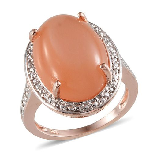 Mitiyagoda Peach Moonstone (Ovl) Solitaire Ring in Rose Gold Overlay Sterling Silver 13.500 Ct.