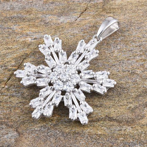 J Francis - Platinum Overlay Sterling Silver (Rnd) Snowflake Pendant Made with SWAROVSKI ZIRCONIA