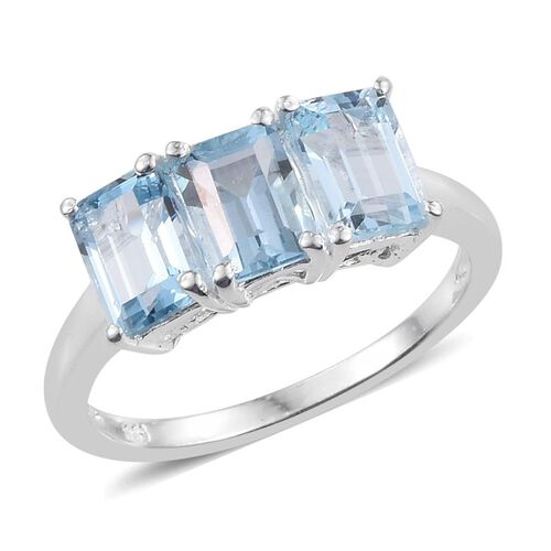 Sky Blue Topaz (Oct) Trilogy Ring in Sterling Silver 3.750 Ct.