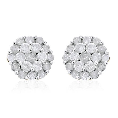 9K Yellow Gold 1 Carat SGL Certified Diamond I3/G-H Floral Stud Earrings with Push Back.