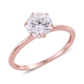 J Francis - Rose Gold Overlay Sterling Silver (Rnd) Solitaire Ring Made with SWAROVSKI ZIRCONIA