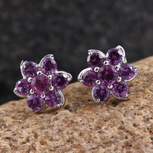 Rare Mozambique Grape Colour Garnet (Rnd) Floral Stud Earrings in Platinum Overlay Sterling Silver 1.250 Ct.