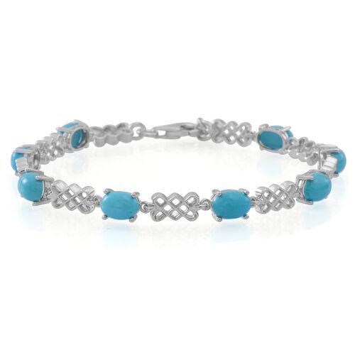 Arizona Sleeping Beauty Turquoise (Ovl) Bracelet (Size 7.5) in Sterling Silver 7.250 Ct.